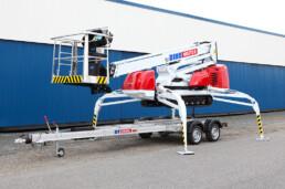 spinhoogwerker vervoeren met aanhangwagen